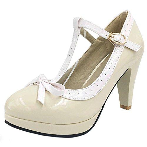 TAOFFEN Women Elegant High Heel Party Pumps T-Strap Solid Shoes Beige