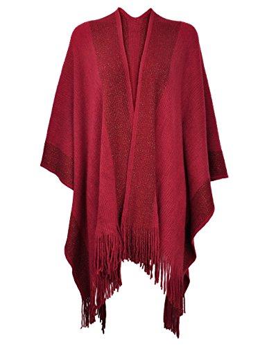 ZLYC Women's Shawl Golden Trim Knit Blanket Wrap Fringe Poncho Coat Cardigan (Dark Red)