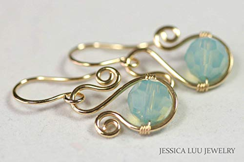 Gold Blue Green Earrings with Pacific Opal Swarovski Crystals for Women
