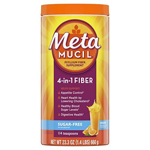 - Metamucil Fiber, 4-in-1 Psyllium Fiber Supplement, Sugar-Free Powder, Orange Smooth Flavored Drink, 114 Servings (Packaging May Vary)