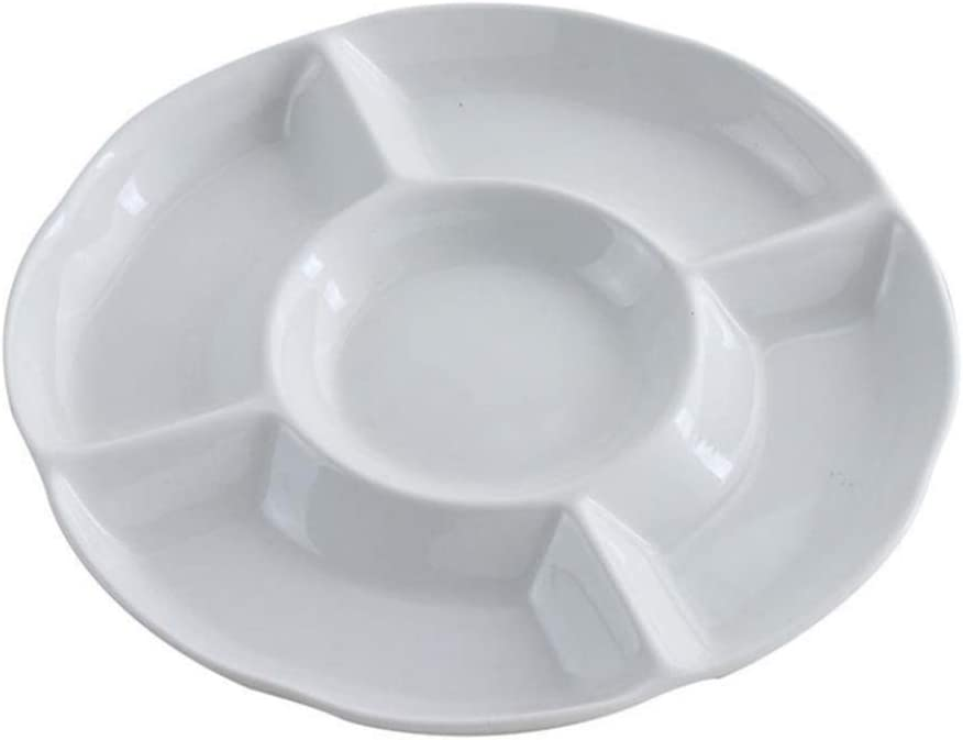 Hemoton 9 Inch 5 Compartment Round Plastic Serving Tray Food Fruit Candy Tray Appetizer Serving Platter (White)