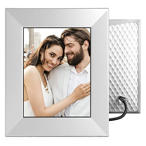 Nixplay W08E- Silver Iris 8' Wi-Fi Cloud Digital Photo Frame with IPS Display, iPhone & Android App, iOS Video Playback, Free 10GB Online Storage, Alexa Integration and Activity Sensor, Silver