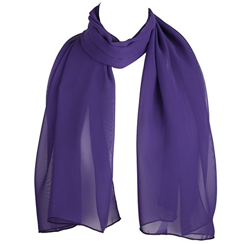 HatToSocks Chiffon Scarf Sheer Wrap Voile Beach Sarong for Women - Purple -