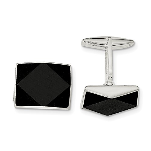ICE CARATS 925 Sterling Silver Black Onyx Cuff Links Mens Cufflinks Link Fine Jewelry Dad Mens Gift Set by ICE CARATS (Image #1)
