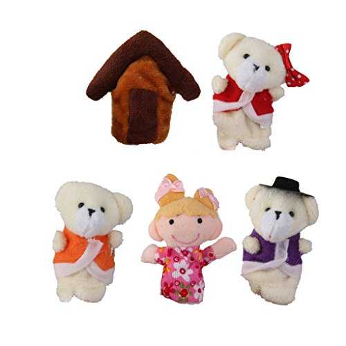 Dovewill 5pcs/Set Goldilocks and Three Bears Storytelling Finger Puppets kids plush toys Nursery Rhyme/Fairy Tale
