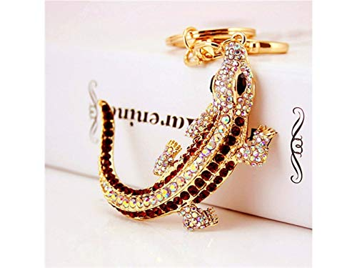 Yunqir Lightweight Exquisite Shiny Rhinestone Lizard Pendant Key Chain Bag Purse Decoration Keyring(Golden) by Yunqir