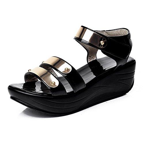 en auto femme pour cuir open balamasa agrippantes Sandales toe Noir brevet gHCPn