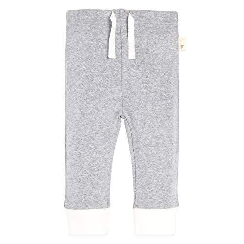 (Burt's Bees Baby Baby Sweatpants, Knit Jogger Pants, 100% Organic Cotton, Grey/White Cuff, 3-6 Months )