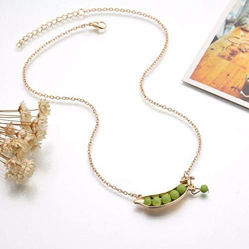 Pcs Accessory Collar Green Women Sweater Style Pendant Pea Necklace Jewelry