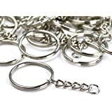 TWONE Metal Split Keychain Ring Parts - 50 Key Chains With 28mm Open Jump Ring and Connector - Make Your Own Key Ring