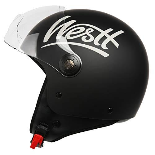 WESTT Classic Jethelm I Vintage Motorradhelm I Retro-Jethelm in matt-schwarz I Jethelm mit Visier I Roller Helme für…