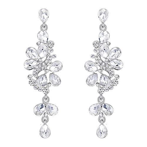 BriLove Wedding Bridal Dangle Earrings for Women Crystal Cluster Teardrop Leaves Dangle Earrings Clear Silver-Tone