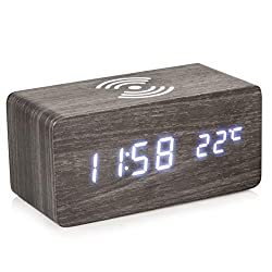 DWHINC Wood Alarm Clock: LED Digital Wooden Alarm Clock with Wireless Charging Pad - Time, Date and Temperature, 3 Alarms, Sound Control, Adjustable Brightness - Table, Desk or Bedside Clock - Black