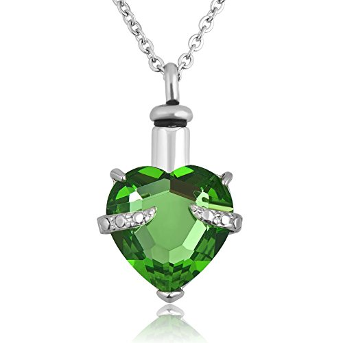 Lantern Low Cremation Jewelry Heart Urn Necklaces for Ashes Green Memorial Keepsake Pendant