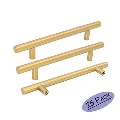- Goldenwarm 25pcs Brushed Brass Kitchen Cabinet Hardware Handle 1/2