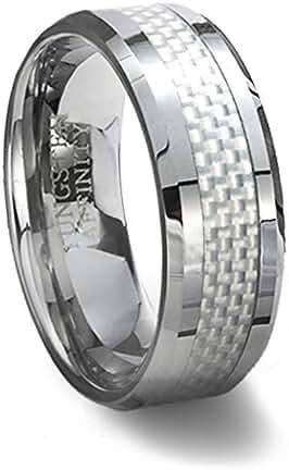 Tungsten Carbide Ring & White Carbon Fiber Inlay 10MM Width