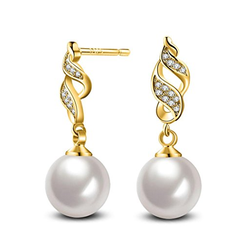 Earrings, Hatop Fashion Pearl Crystal Rhinestone Jewelry Women Ear Stud Earrings Pearl (White)