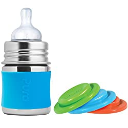 Pura Kiki Stainless Steel Infant Bottle with Aqua Silicone Sleeve, 5 Ounce, Plus Set of 3 Silicone Sealing Disks
