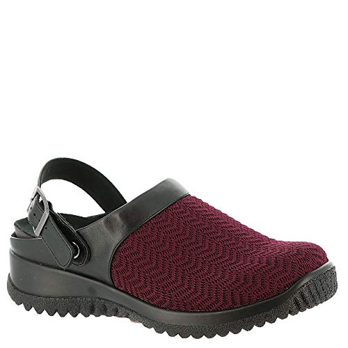Stretch Black WIDE Savannah Women's clogs Black 13 Burgundy mules Wavy X Stretch Drew and tIUqxf5