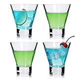 Martini Glasses .Cocktail Glasses Set of 4,Stemless Martini Cocktail Glass 8 Ounce, Cocktail Bar Glass, Perfect Quality Gift for Banquet, Party, Wedding, Housewarming, Birthday Celebrations (4-pack)