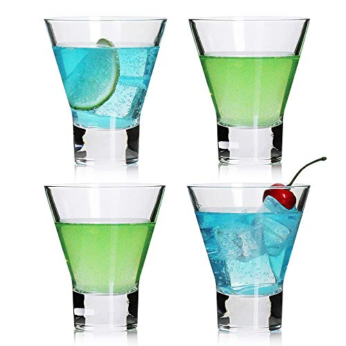Martini Glasses,Cocktail Glasses Set of 4-Stemless Martini Cocktail Glass 8 Ounce. Cocktail Bar Glass Perfect Quality Gift for Banquet, Party, Wedding, Housewarming, Birthday Celebrations (4-pack) (Cosmo Stemless Glasses)