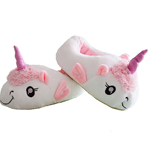 with Plush Novelty Slipper White Slippers Pink Kenmont White Animal Unicorn White Wing Shoes RqTxR8n6w