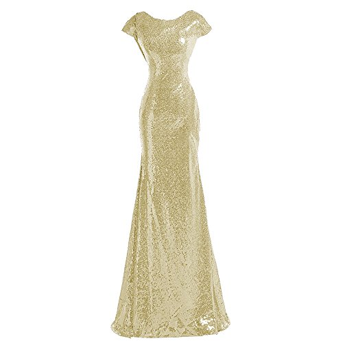 Sparkle Champagne Sequins Bridesmaid Dresses Modest Long Prom Evening Gowns,8,Champagne ()