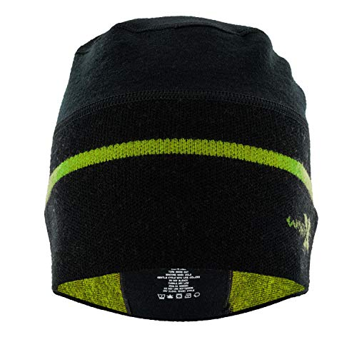Woolx Unisex Cold Snap Merino Wool Beanie Hat For Men & Women , Black Electric Flame, One Size