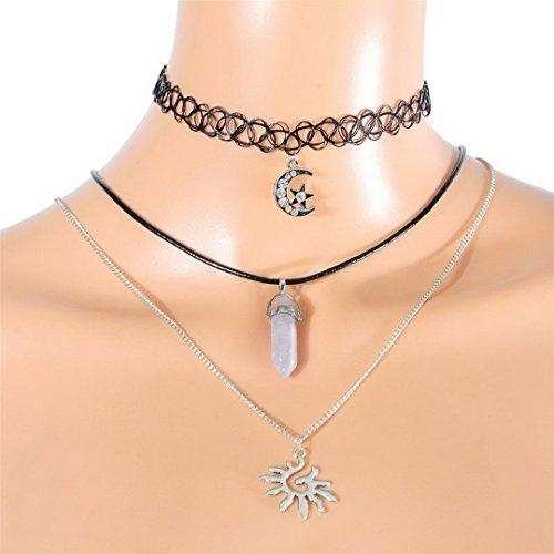 90s Party Outfit (MJartoria Rhinestone Moon Star Sun Chakra Charm Pendant 3 Layer Elastic PU Choker Necklace Set)