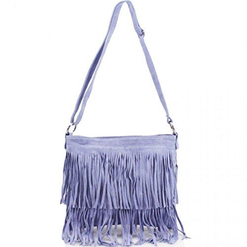 Women's Bag Crossbody LeahWard Tassle Handbags 12 Leather Blue Shoulder Real TIwIdXq