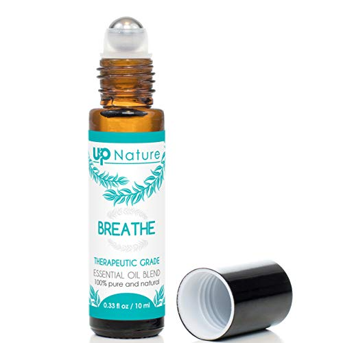 Breathe Essential Oil Roll-On - Peppermint & Eucalyptus Oil Blend - Breathe Easier - Allergy & Sinus Relief - Easy Application Roller - High-Quality - Leak-Proof Rollerball - No Diffuser Needed!