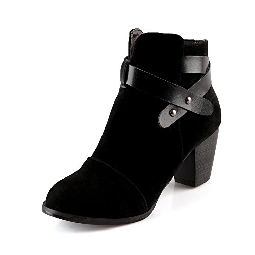 AgooLar Women's Solid Imitated Suede Kitten-Heels Zipper Round Closed Toe Boots Black 9b6Jyi