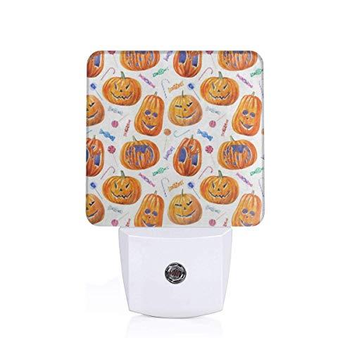 Night Light Halloween Pumpkin Lollipop Candy Plug-in Night Light Warm White LED Nightlight with Auto Dusk to Dawn Sensor, Perfect for Kids Room, Hallway, Bedroom, Kitchen, Bathroom -