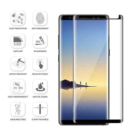 Galaxy Note 8 Screen Protector [2-Pack], 9H Hardness 3D HD Clear Full Coverage Screen Protector for Samsung Galaxy Note 8 And TPU Screen Protector Anti-Bubble - Anti-Scratch