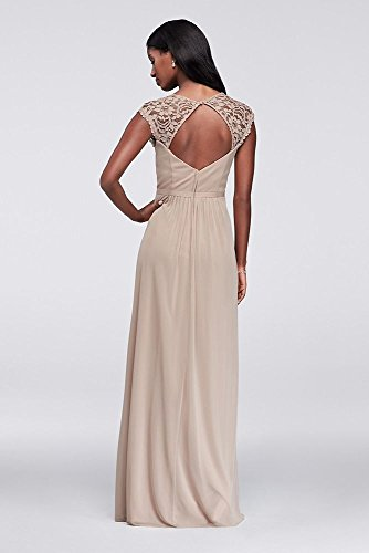Length Dress Biscotti Mesh Bridal Extra David's Cap Sleeves Lace Keyhole Long Bridesmaid Style EwTxqxF70