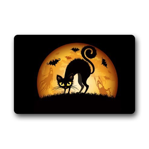 Fisbexy Custom It Halloween cat ghosts bats moon grass Rectangular Decorative non slip Doormat 15.7 by 23.6 by 3/16-Inch Design5