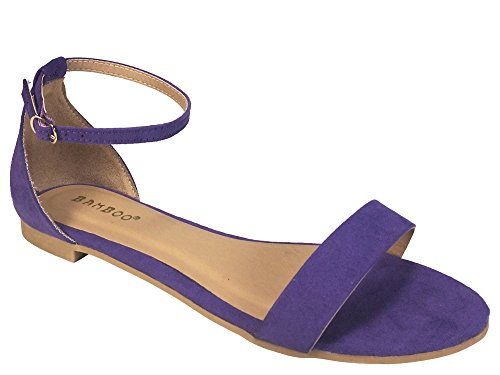 Bamboo Women's One Band Flat Sandal with Ankle Strap, Purple Faux Suede, 8.5 B (M) US -