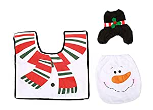 3pcs/set Christmas snowman Home bathroom decor Toilet Cover,Footpad,Water Tank Cover+Paper Towel Cover ZY