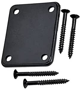 YMC 1 Set Electric Guitar Neck Plate with Screws for Strat Tele Guitar PrecisionJazz Bass Replacement Black