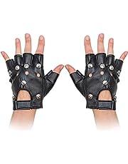 Skeleteen Gothic Fingerless Biker Gloves - 80s Style Black Leather Punk Biker Gloves with Studs for Men Women and Kids