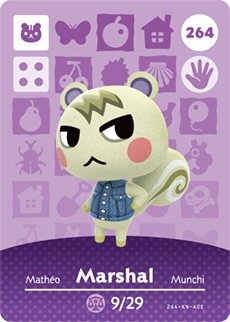 Amazon.com: Marshal - Nintendo Animal Crossing Happy Home Designer Amiibo  Card - 264: Video Games
