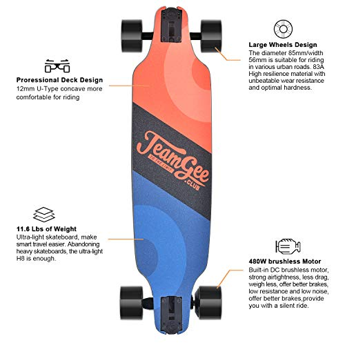 teamgee H8 31'' Electric Skateboard, 15 MPH Top Speed, 480W Motor, 8 Miles Range, 11.6 Lbs, 10 Layers Maple Longboard with Wireless Remote Control by Teamgee (Image #1)