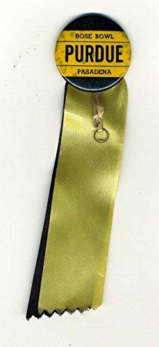 (PURDUE University Rose Bowl Pinback Button with Ribbons Pasadena 1967)