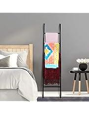 PENGECO Blanket Ladder Towel Shelves Scarves Display Holder- Black Color