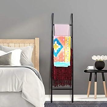 PENGECO Blanket Ladder Towel Shelves Beach Towel Rack Scarves Display Holder (Black)