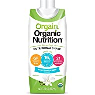 Orgain Organic Nutrition Shake, Sweet Vanilla Bean, Gluten Free, Kosher, Non-GMO, 11 Ounce, 12 Count, Packaging May Vary