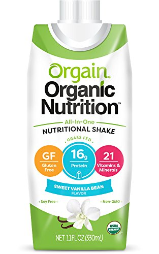 Orgain Organic Nutrition Shake, Sweet Vanilla Bean, 11 Ounce, 12 Count, Non-GMO, Kosher, Gluten Free, Packaging May Vary