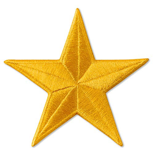 Five-Pointed Star Embroidered Patch Iron On (Yellow, - Patches Star Yellow