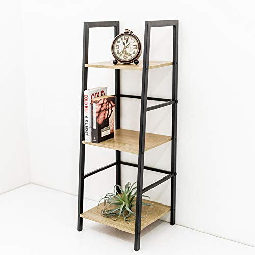C-Hopetree Ladder Bookcase Bookshelf Storage Shelf Vintage Industrial Plant Display Stand Rack Shelving, Home Office Accent Furniture, Black Metal Frame, 3 Tier Slim