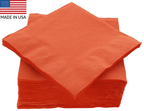 "ck 125 Count Orange Beverage Napkins - Ideal for Wedding, Party, Birthday, Dinner, Lunch, Cocktails. (5"" x 5"") (Orange Beverage Napkins)"